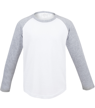 Langarm Baseball Shirt Weiß/Grau | 140