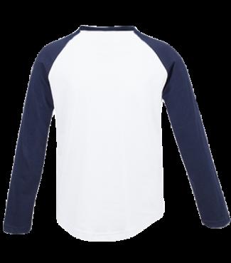 Langarm Baseball Shirt Weiß/Dunkelblau | 116