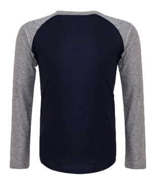 Langarm Baseball Shirt Dunkelblau-Grau | 140